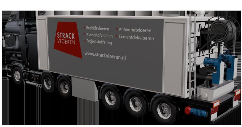 Vrachtwagen strack betonvloeren